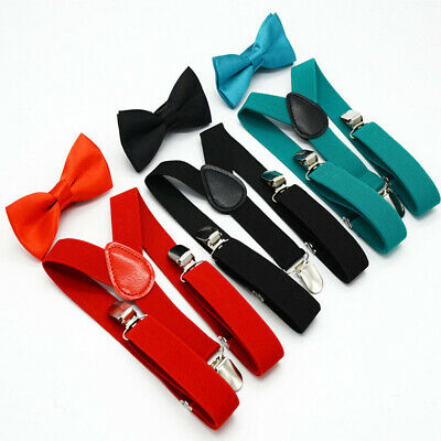 Boys Suspenders Bow Tie Set Girls Elastic Braces Kids Solid Color Children Gift