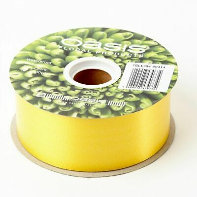 "2"" FLORIST RIBBON YELLOW 50mm Poly Satin Flower Hamper Gifts Weddings 91m Roll"