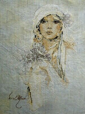 Lanarte Linen Complete Counted Cross Stitch Unframed Picture Lady - Lilac Flower