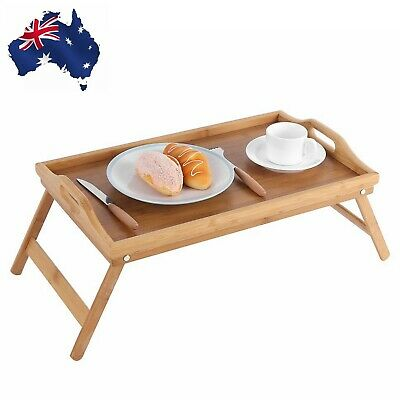 Portable Bamboo Wood Bed Tray Breakfast Desk Tea Food Serving Table Folding Leg