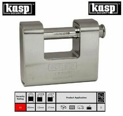 KASP 80mm HIGH Security Armoured Padlock Garage/Gate/Container Lock K17580