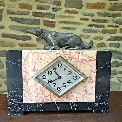Vintage Art Deco Mantle Clock Marble with Lurcher dog in spelter  PENDULE