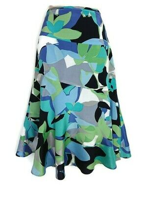 943ebe7c5c Monsoon Flared Flippy Blue Green Floral Mix Skirt Size 10 Summer Holiday  Cruise