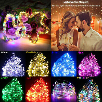 20/50/100 LED Battery Micro Rice Wire Copper Fairy String Lights Party White UK