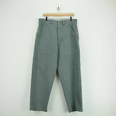 Vintage 40s WWII Era Swiss Army Salt & Pepper Worker Chore Trousers 34 W 30 L