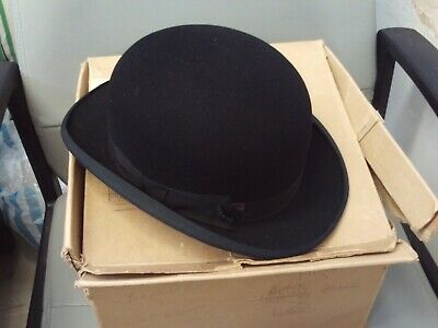 Vintage Battersby & Co. London Bowler Hat 6 7/8 in Williams & Hopkins Card Box