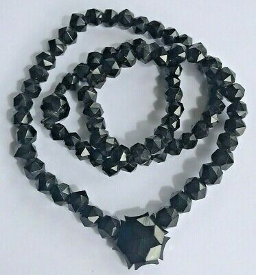 Victorian antique  WHITBY JET necklace faceted beads ~weig