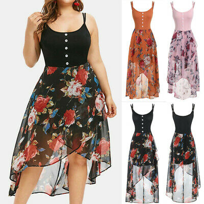 Fashion Women Plus Size Sleeveless Button Floral Print Overlay High Low Dress
