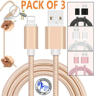 3 PACK Heavy Duty Metal Braided Lightning USB Charger Cable For iPhone X 8 7 6