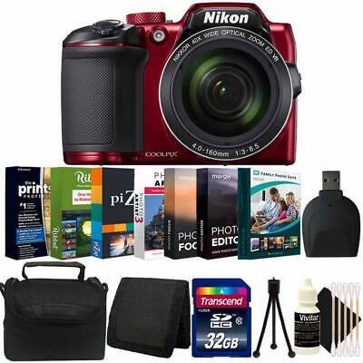 Nikon Coolpix B500 16MP Digital Camera (Red) + Photo Editor Software Bundle