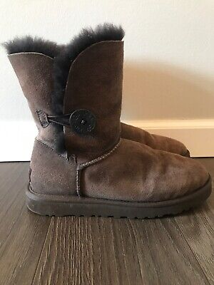 34a7b72d94d UGG WOMEN'S BAILEY Button Chocolate Brown Suede boots 5803 New With ...