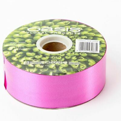 "2"" FLORIST RIBBON CERISE PINK 50mm Satin Flower Hamper Gift Wedding Car 91m Roll"