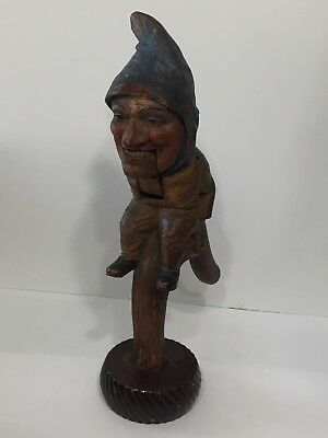 Antique Black Forest Hand Carved Wooden Figural Nutcracker Gnome Elf Stump 11.5""