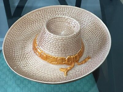 """Vintage 1986 Whittier Pottery Sombrero Hat Chip N Dip Serving Tray 12.5"""" X 11.5"""