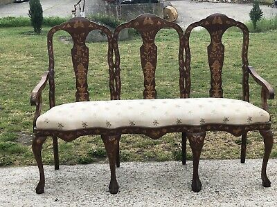 Antique Victorian Mahogany & Satinwood Marquetry Inlaid Salon Couch Sofa Dutch