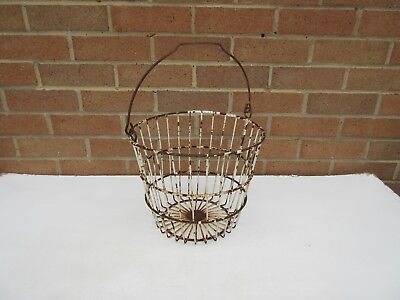 vintage rustic metal wire egg collecting hanging basket garden planter display .