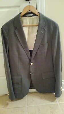 6c7de6e26 GANT RUGGER MENS The Hopsack Gray Wool Blazer Jacket EU 50 US 40R