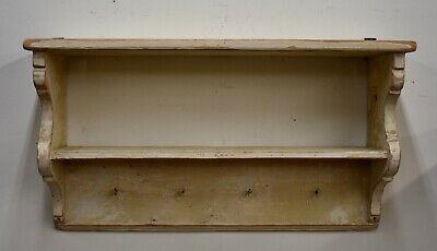 Antique Painted Pine Wall-Mount Utility Shelf