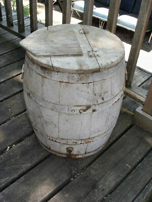 19th c. Authentic General Store Pewter Blue Painted Barrel ~ Stave-constructed