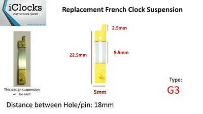 Brass French Clock Pendulum Suspension Spring. (22.5mm x 9.5mm x 5mm)  (Type G3)