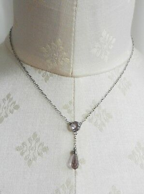 Antique Edwardian Sterling Silver and Amethyst Negligee Necklace