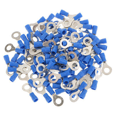 100x Insulated Blue Ring Connector Crimp Electrical Terminal Hole 6.4mm