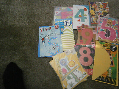 Job Lot Greetings Cards For Childrens Ages-Birthday-4/5/8/9/13/7
