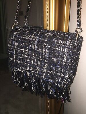 dc4586f49aa0 Zara Multicoloured Navy Glitter Boucle Tweed Bag With Silver Chain Strap  Blogger