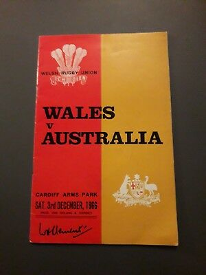 1966-Wales V Australia-International Tour Match-Rugby Union Programme