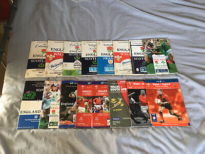 10x 1987-1995-ENGLAND SCOTLAND-FRANCE-WALES-5 NATIONS PROGRAMME COLLECTION-BULK