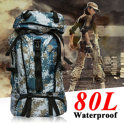 80L Waterproof Extra Large Camping Hiking Travel Luggage Backpack Rucksack