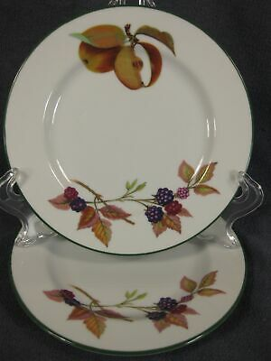 Royal Worcester Evesham Vale Bread Butter Plates Lot of 2 England Apples Berries