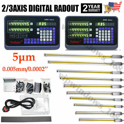 DRO 2/3Axis Digital Readout Linear Scale Encoder 5µm for CNC Milling Lathe,US