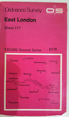 Vintage EAST LONDON Ordance Survey Map Sheet 177 Second Series 1974