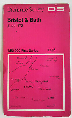 Vintage Bristol and Bath Ordance Survey Map Sheet 172 First Series 1974