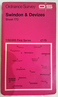Vintage SWINDON and DEVIZES Ordance Survey Map Sheet 173 First Series 1974