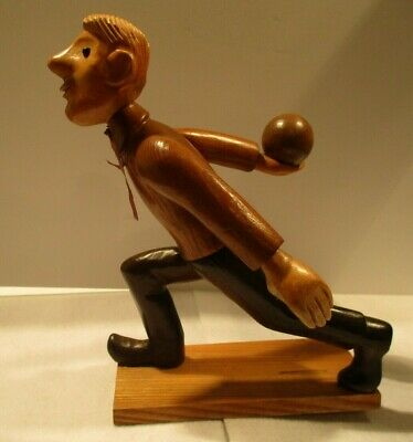 Rare Mid Century Bowling Carved Wooden 10 1/2 Inch Statue-Great Condition-Italy