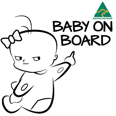 BABY ON BOARD Pointing Vinyl Car Sticker Warning Sign Decal