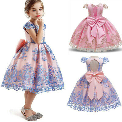 Baby Kids Girls Dress Flower Princess Party Wedding  Bridesmaid Gown Size 6 8T