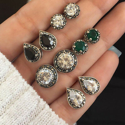 5 Pairs Ladies Boho Crystal Stud Earrings Cubic Zirconia Water Drop Earring Gift