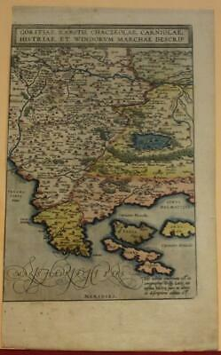 Croatia & Slovenia 1579 Ortelius Unusual Antique Original Copper Engraved Map