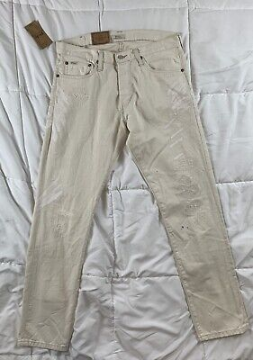 4302f21b9  125 Polo Ralph Lauren RL Sullivan Slim Jeans 32 x 32 White Distressed  Painted