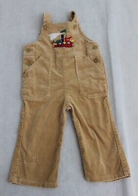RETRO size 1 boys tan thick corduroy vintage overalls dungarees embroiled flare