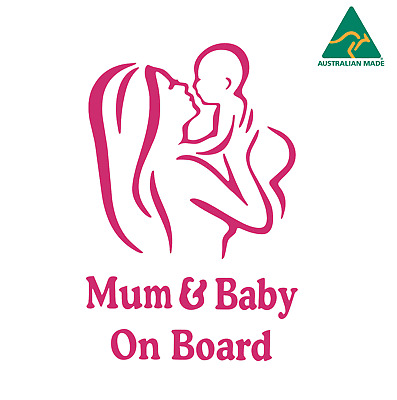 Mum and Baby on Board Car Sticker Decal
