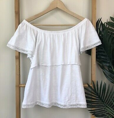 faa1d709b8e9 Seed Heritage White Off The Shoulder Top Size S Ruffle Frill Lace Trim  Womens