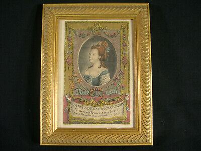 Rare Late 18th Early 19th Century Antique Hand Colored French Royalty Engraving