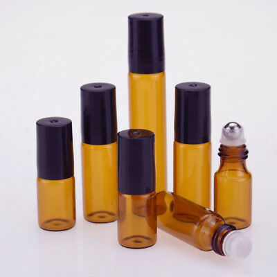 Lot 3/5/10ml Amber THICK Glass Roller Essential Oil Bottles Steel Roll on Ball
