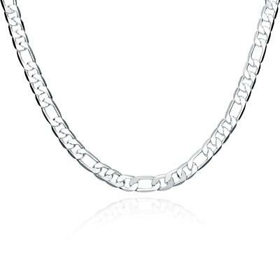 Silver Plated Jewelry Mens 8mm Flat 20 inch Geometric Chain Necklace DIY HI