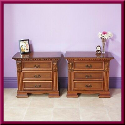 Antique style Pair of Bedside Tables ◆ 3 Drawers ◆ Corbels