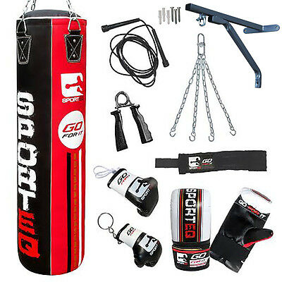 Sporteq® 5ft Punch Bag Heavy Filled Hanging Kickboxing MMA Chain Bracket Gloves